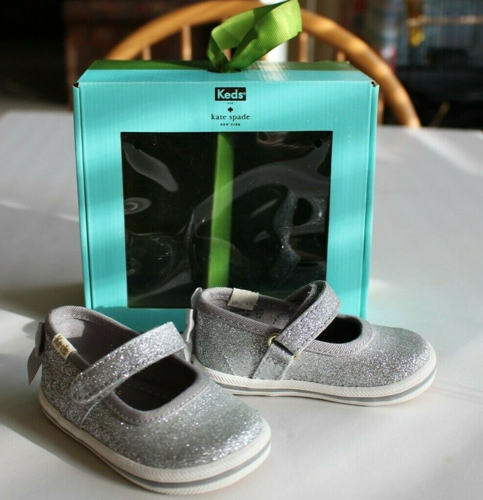 Keds Kate Spade Silver Glitter Mary Jane Shoes Baby Toddler