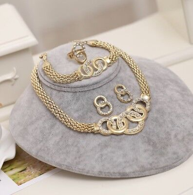 (New Collection Dubai Jewelry Set Gold Plated  Necklace Earring Bracelet Ring)