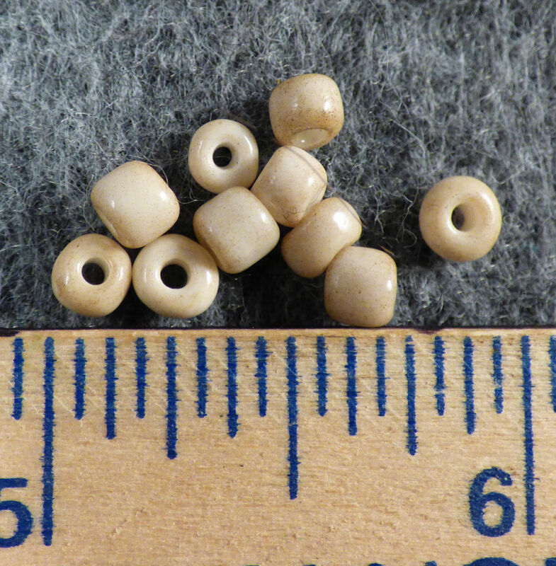 (10) Crow Indian Trade Beads Small White Padres Shiny Fur Trade Era Pre-1800