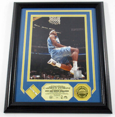 Carmelo Anthony Game Used Collection Photo Net Coin Highland Mint Framed /199