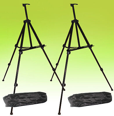 2 PACK Tripod Metal Easel Display Exhibition Folding Artist Adjustable Stand