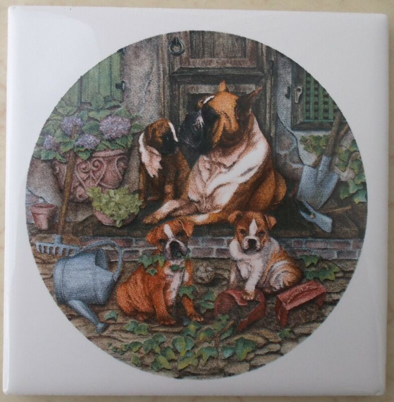 Ceramic Tile American Boxer Family Pups Dog
