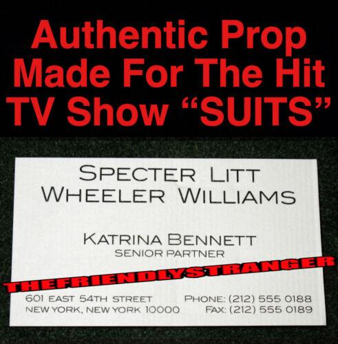 """Rare KATRINA BENNETT """"SUITS"""" PROP BUSINESS CARD b- SPECTER LITT WHEELER WILLIAMS"""