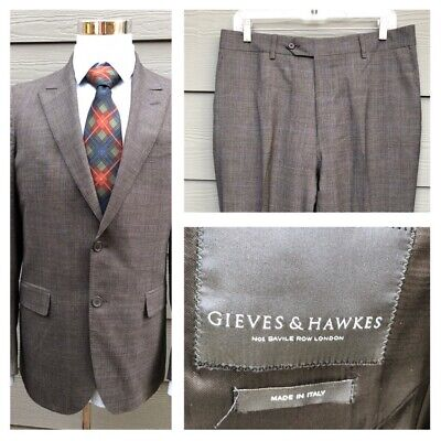 Gieves & Hawkes Men Gray Glen 100% Wool Suit Coat Size 42 L /Pant 32 x 30 -Italy