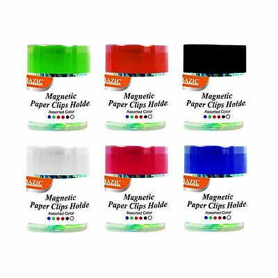 2pk Magnetic Paper Clips Holder Organizer W 50ct Small Color Paper Clips 242