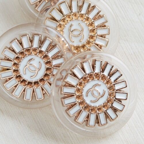 Chanel Buttons 2pc CC Gold & White Acrylic19mm Vintage Style AUTH!!!