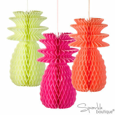 Fluorescent Honeycomb Pineapple Decorations -Tropical Centrepiecespartybbq- Dd