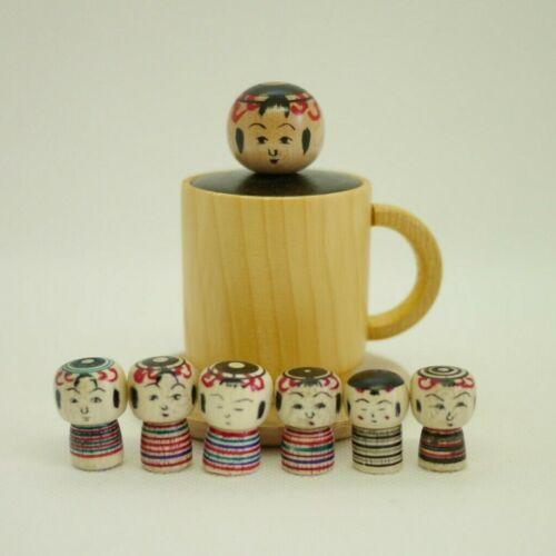 8cm Japanese Traditional Kokeshi Ejiko Doll Toshihiko Nishiyama(1958-) Coffeecup