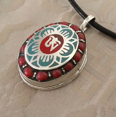 Great Tibetan Wooden Amulet, Silver Gau from Nepal Lotus-Flower & Om, Ghau