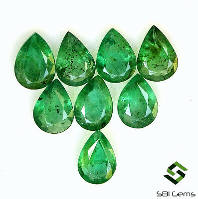 7x5 mm Natural Emerald Pear Cut Lot 08 Pcs 4.61 Cts Untreated Loose Gemstones