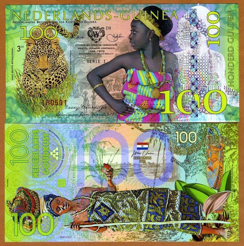 Netherlands Guinea (Ghana) 100 Gulden, 2016 Private Issue POLYMER, UNC > Leopard