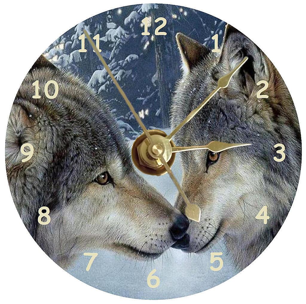 NEW Wolves Kissing CD Clock