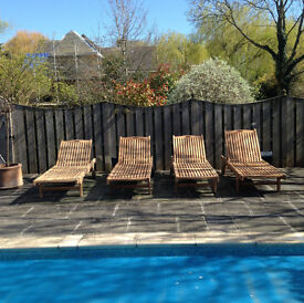 Solid Teak Sunlounger (with cushion) - Exclusive Clearance Offer