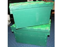 Pack of 2 Large Used Heavy Duty Plastic Storage Boxes With Folding Hinged Lids 64L