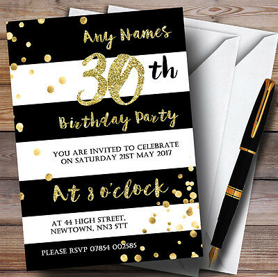 Black & White Stripy Gold Confetti 30th Personalised Birthday Party Invitations (Black And White Party Invitations)