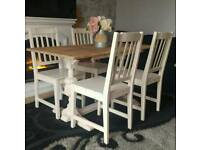 Solid oak shabby chic table and 4 chairs can deliver farrow and ball