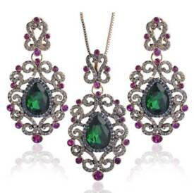 New green royal flower rhinestone Turkish jewelry set