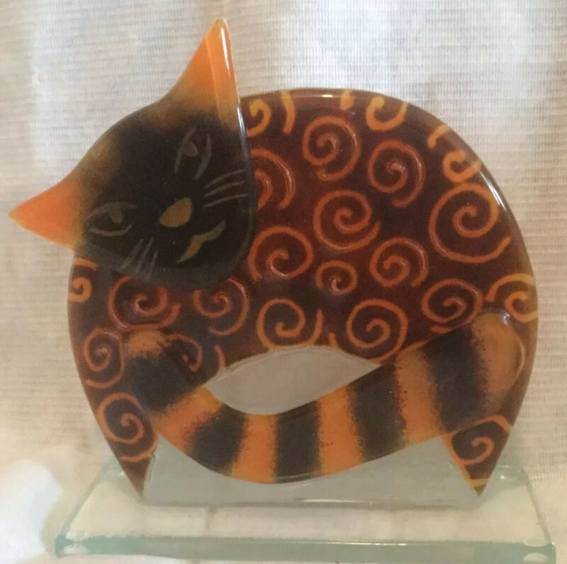 Lenox Fused Cat Glass Figurine. Individually Crafted so no two are the same.