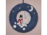 Handmade crochet Christmas wreath (Snowman).