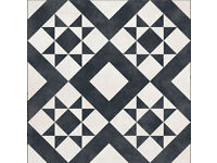 British Ceramic Tiles floor black and white vintage patterned 30 x 30 brand new 4m2
