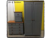 Pine Bedroom Furniture Set Wardrobe Chest of Drawers Bedside Table Hand Painted Grey Mineral Paint.