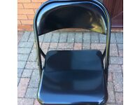 Black Habitat Macadam Metal Folding Chairs x 4