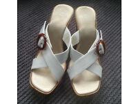 Ladies white summer sandals – wedge heel, size 8