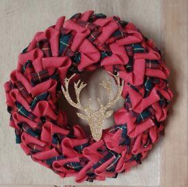 Handmade Christmas wreath, tartan & burlap, glitter stag, led lights,