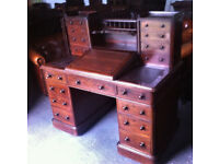 Victorian kneehole pedestal writing desk