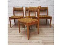Four Vintage Teak Dining Chairs (DELIVERY AVAILABLE)