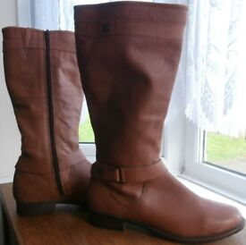 Matalan Tan Soft Leather Boots Size 7