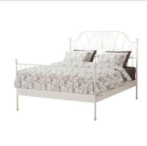 For sale: White steel queen size bed frame