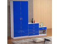 BLUE HIGH GLOSS BEDROOM FURNITURE- SOFT CLOSE WARDROBE, CHEST & BEDSIDE