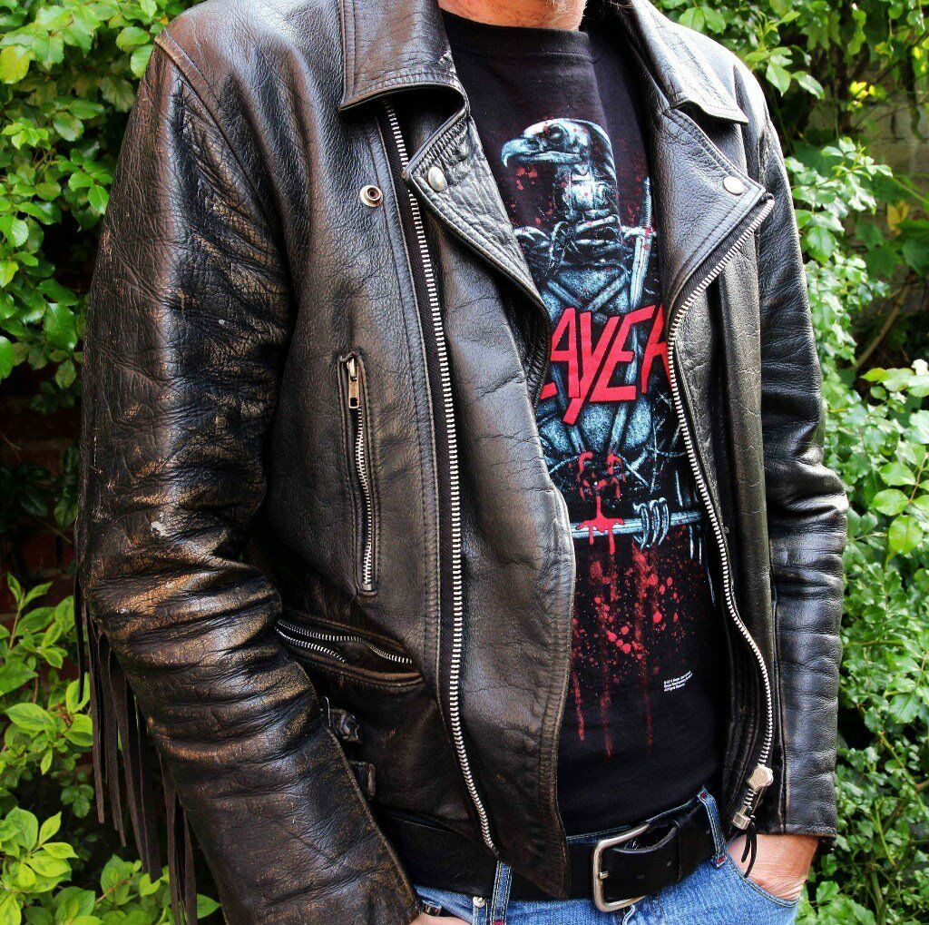 Men S Vintage 1980s Fringed Genuine Leather Biker