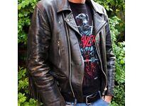MEN'S VINTAGE 1980s FRINGED GENUINE LEATHER BIKER METALHEAD JACKET – LARGE