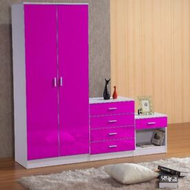 Pink on white HIGH GLOSS 3 PIECE Bedroom Furniture Set - Wardrobe Chest Bedside