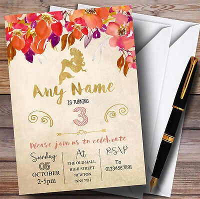 Fall Birthday Invitations (Autumn Gold Mermaid Childrens Birthday Party)