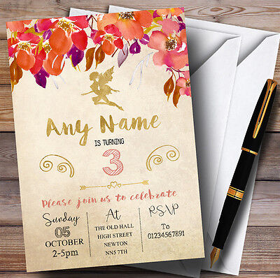 Fall Birthday Invitations (Autumn Gold Fairy Childrens Birthday Party)