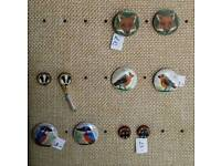 Hand painted wooden stud earrings - different patterns