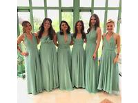 4 Brand New Pastel Green Chiffon Full Lenght Multi-Way Bridesmaid Dress 12-14