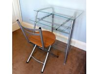 """Contemporary Very Stylish Computer Desk with Folding Chair H 30""""/76cm W28""""/71cm D19""""/49cm"""
