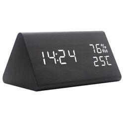 Digital Alarm Clock Wood  Electronic LED Time Display Temperature Humidity Clock