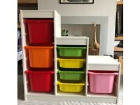 IKEA trofast unit - white with colourful boxes