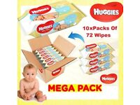 Huggies Pure Baby Wipes Pack of 10 x 72 Wipe - 720 Total