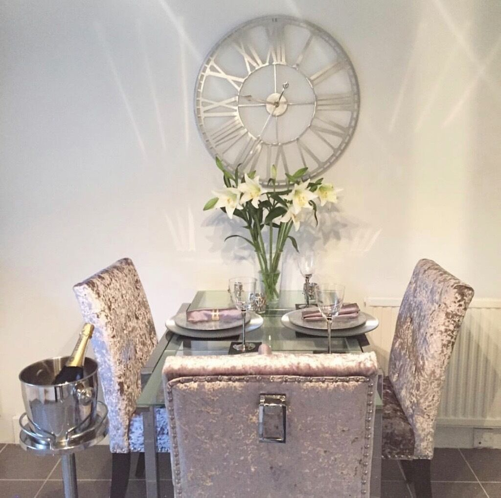 Gorgeous crushed velvet dining chairs with studs and D ring
