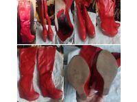 LADIES SEXY RED WEDGE HEEL KNEE BOOTS SIZE 4/37