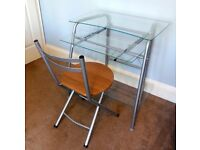 Contemporary Very Stylish Computer Desk Made with Toughed safety glass with Folding Chair