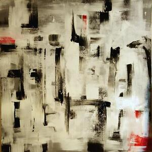 """NEW ART Oakville Huge 48x48"""" DISTRACTION Abstract Original Painting Black and White Red Large Square Koudelka"""