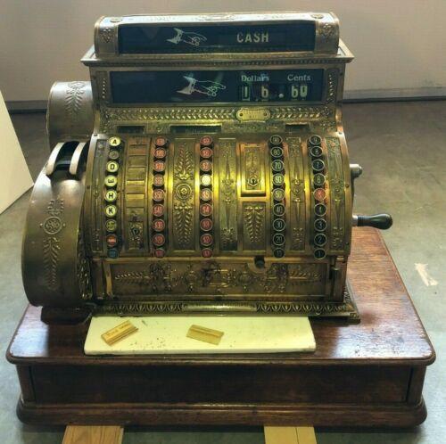 Antique 1919 National Cash Register Company Brass Cash Register Model 452 NCR