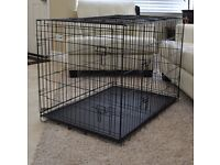 "Dog Crate Puppy Cage XL 42"" (black with metal tray) — free fitted waterproof mattress!"